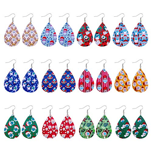 12pc Leather Christmas Face Mask Earrings Adds to The Festive Atmosphere