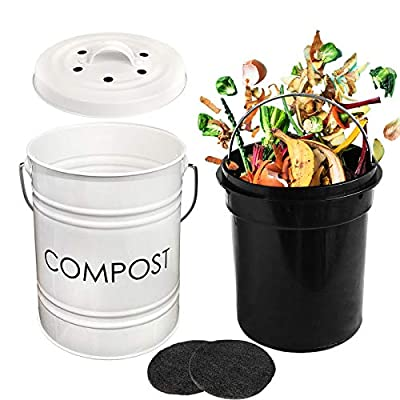 AVV Metal Compost Bin with Lid for Kitchen Counter Top Indoor Composter Countertop Container Small Bucket Pail Collector White 0.8 Gallon