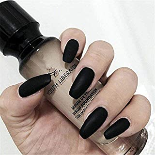 BloomingBoom 24 Pcs 12 Size Full Cover False Fake Nail Artificial Elegant Press on Long Salon Design Ballerina Square Oval Coffin Ballerina Matte Black Elegant Punk Ins Style