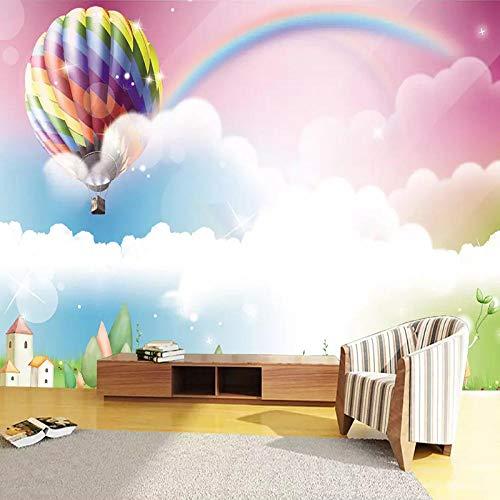 Deeaceo® 3D Fototapete Wandbild Cartoon handbemalt Regenbogen Bunt Heißluftballon Wandbild Junge Mädchen Kinderzimmer Wandposter Tapete Selbstklebend Riesen Aufkleber für Kinder B 350x256cm(W+H)