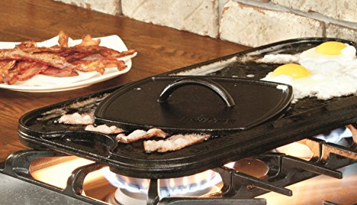 "Lodge LPGI3PLT Pro-Grid Cast Iron Reversible Grill/Griddle Pan with Easy-Grip Handles, 10.5"" x 20"""