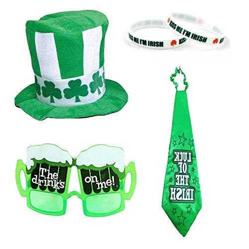 2 Set Party AccessoryBeer Glass Glasses,KISS MEGreen Rubber Wristbands Bracelet,Big tie,Beer Glass Glasses,Velvet top hat Irish Festival Costume Accessories St. Patrick's Day Set