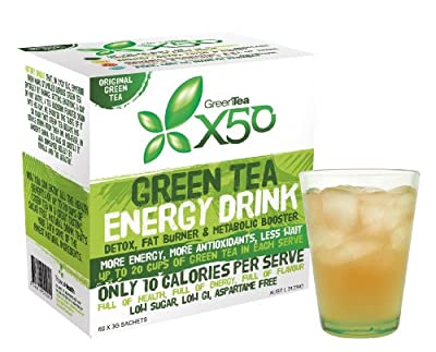 Green Tea X50 - Extract organic supplement powder for weight loss diet and bodybuilding - Decaffeinated fat burner liquid drink (EGCG) not vitamin pills or capsules - dietary supplement mixed with cold or hot water - 3 great variety of flavors