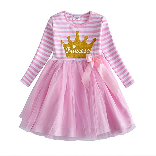 VIKITA Mädchen Kleider Sommerkleid Blume Baumwolle Lässige Kinderkleidung Gr. 92-128 LH4561 6T