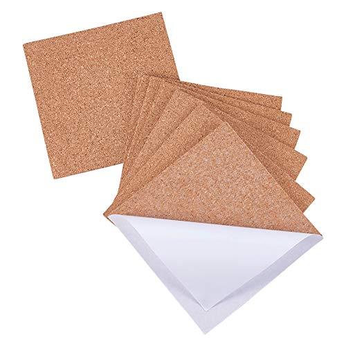 BENECREAT 40 Pack Selbstklebende Korkplatte 10x10x0.2cm Quadratische Isolierung Kork Trägerplatten für Fußböden, Wände, Stanzen, DIY Bastelprojekte, Untersetzer