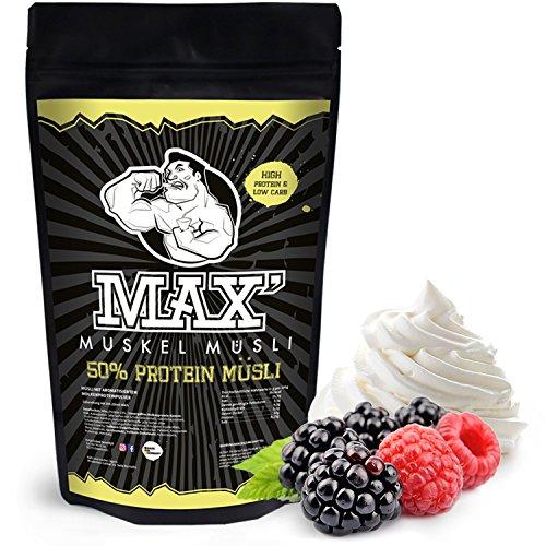 MAX MUSKEL MÜSLI Protein Müsli Low Carb ohne Zucker-Zusatz & Nüsse - Müsli wenig Kohlenhydrate viel Eiweiss Sportlernahrung für Muskelaufbau & Abnehmen 500g Beutel (Berries & Cream)