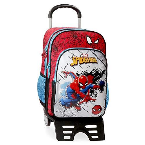 Marvel Spiderman Red Mochila Escolar con Carro, Rojo