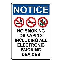 安全標識-通知標識喫煙または電子タバコを吸わないでいただきありがとうございます錫標識インチ