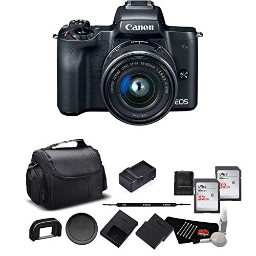 Canon EOS M50 Mirrorless Digital Camera with 15-45mm Lens and 4K Video 2680C011 Bundle w/Memory Cards, Spare Battery + More - International Model