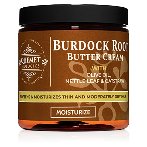 Qhemet Biologics Burdock Root Butter Cream - Leave-In Moisturizer for Low Porosity Hair - Helps Soften and Smooth Dry, Brittle Edges - Conditioning Botanicals to Nourish Scalp (8.5 oz)