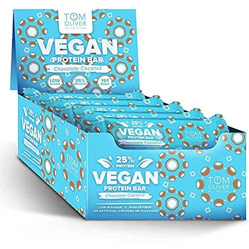 Tom Oliver Nutrition Vegan Protein Bar 20x55g Chocolate Coconut, 20 Units