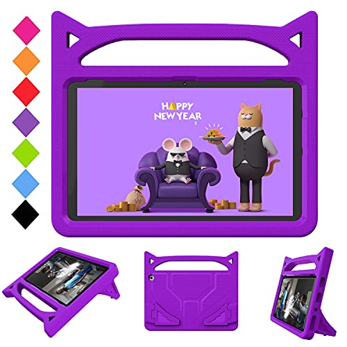 2021 All-New HD 10 & HD 10 Plus Tablet (Only Compatible with 11th Generation Tablet, 2021 Release),Riaour - Light Weight Shock Proof Handle Stand Kids Friendly Case for HD 10 Tablet(Purple)