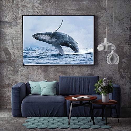 Marine life hand malerei tuch ölgemälde poster und druck dekoration abstrakte wohnzimmer wandbild (kein rahmen) A2 40x50 CM