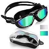 Winline Gafas de Natación Anti Niebla Hermético Ajustable Gafas de Natación para Adultos para Hombres Y Mujeres (All Black/Green Mirrored Lens)