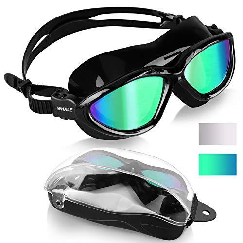 Schwimmbrille Erwachsene Anti Fog Ohne Leakage deutlich Anblick UV Schutz 180°Weitsicht Einfach zu anpassen,Super komfortabeler Schwimmbrille für Herren und Damen (All Black/Green Mirrored Lens)