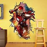 Hearsnow Wandtattoo 3D Wandaufkleber Wandbilder Avengers 4 Superheld Iron Man Abziehbilder Tapete Dekorative Movie Poster Self Adhesive Kind-Raum-Wand-Dekor 60x90cm