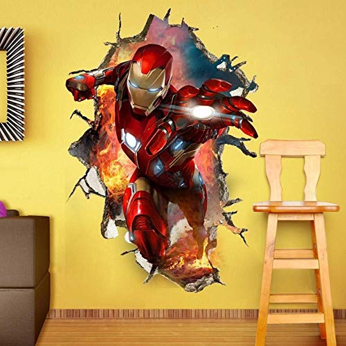 LCFF Wandtattoo 3D Wandaufkleber Wandbilder Avengers 4 Superheld Iron Man Abziehbilder Tapete Dekorative Movie Poster Self Adhesive Kind-Raum-Wand-Dekor 60x90cm