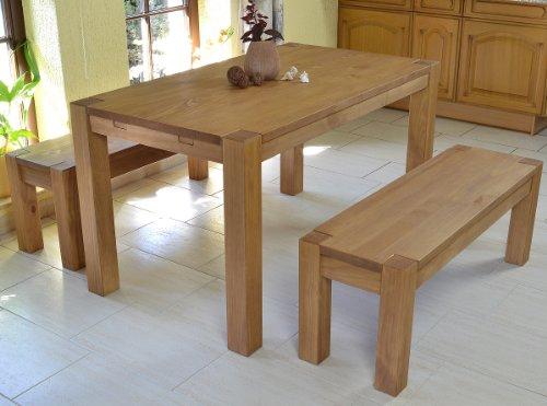 Sitzgruppe Rio Bonito Farbton Honig hell mit Esstisch 140x80cm + 2x Sitzbank 120x38cm Pinie Massivholz geölt und gewachst Tisch und Bank, Optional: passende Bankauflagen und Ansteckplatten