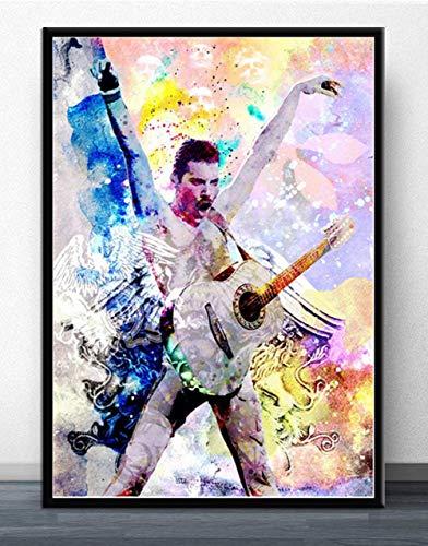 XuFan Carteles Abstractos Impresiones Cuadros Decoración para el hogar Lienzo Pintura Freddie Mercury Rock para Sala de Estar 60x80cm Sin Marco