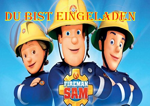 TV-24 Feuerwehrmann Sam Einladungskarten 6er Set inkl. 6 Umschläge Motiv E2