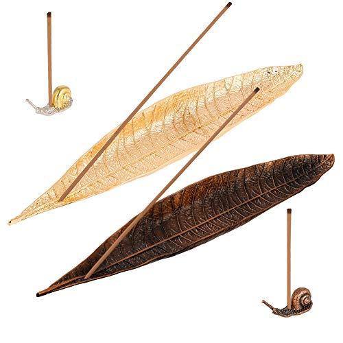Firtink 2 Stücke Leaf Räucherstäbchenhalter mit 2 Schnecke Räucherstäbchenhalter für Wohnzimmer, Yoga Raum, Teestube und Aromatherapie Herd Dekoration