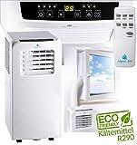 Klimaanlage 9000BTU Energieklasse A, Klimagerät mit Ventilator und Entfeuchtungsfunktion 2,6KW Kühlleistung Fernbedienung, 2x Fensteranschlusset