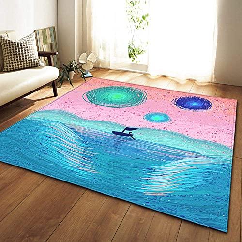 PHhomedecor Alfombra, Esponjosa Y Lavable, Impresión 3D Océano Azul, para Dormitorio, Sala De Estar, Habitación Infantil.Inicio Arte Decoración De Imagen De Moda Rug,160(H) X230(W) Cm