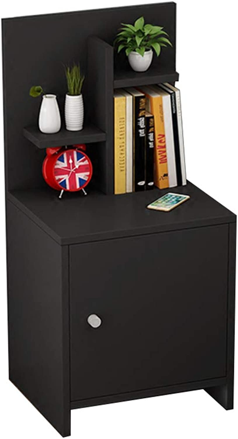 GJM Shop Bedside Table, Wood End Table Nightstand Bedside Cabinet with Bookshelf and 1 Lockers, 36 x 30 x 75CM (color   B)