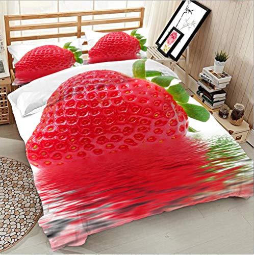 Bettwäsche 155X 220 Erdbeere, Wasser Bettwasche Mikrofaser Bettbezug Pflegeleicht Bettwäsche-Set Doppelbett Mit Reißverschluss Und Kissenbezug(80X80Cm ) Superweiches
