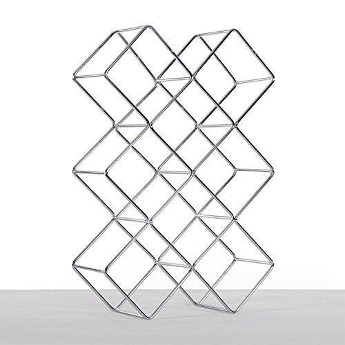 DESIGN DELIGHTS WEINFLASCHENHALTER Quadrat | Metall, Silber, 37,5 cm | Weinständer, Weinregal