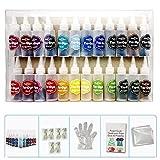 Mooderff One-Step Tie Dye Kit – 24 colores de tela DIY colores textiles con botella de tinta, guantes, ropa, Graffiti plástico para proyectos solos