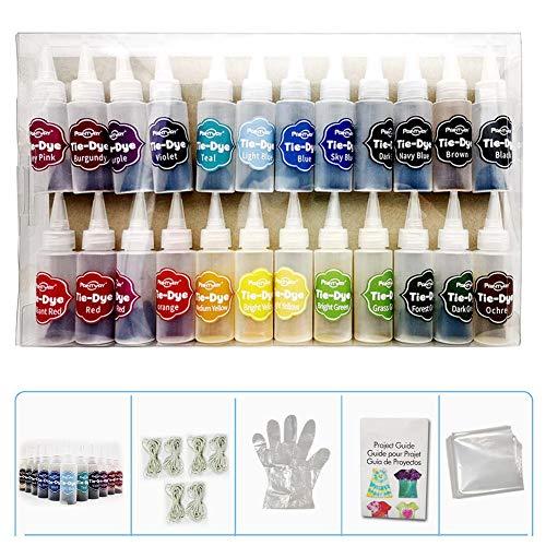 Ein-Schritt-Tie-Dye-Kit, 24 lebendige Farben Textilfarben, DIY-Kleidung Graffiti Dye Partyzubehör für Familienunterhaltung für Kinder, Erwachsene