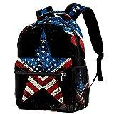 Mochila informal para niñas y niños, adolescentes, diseño de estrella retro de Estados Unidos de América con muchos bolsillos, Bandera retro de Estados Unidos de América,