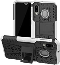 Case with Kickstand for Samsung Galaxy A10E, Galaxy A20E, YMH Rugged Armor Shockproof Heavy Duty Full Body Protection Hybrid Phone Case Cover for Galaxy A10E / A20E - White