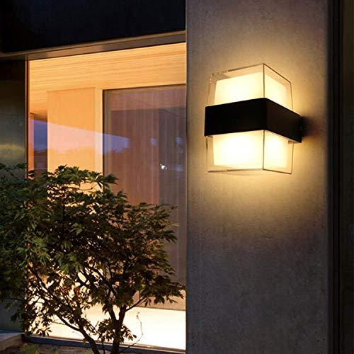 LED Außenleuchte 12W 3000K Warmweiß Wandleuchte Aussen 2-Flammig 1200LM IP65 Wasserdicht Modern Acryl Außenlampe Superhell Für Gärten Terrassen Außenwände usw