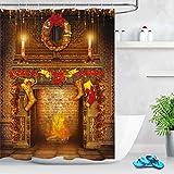 LB Weihnachten Duschvorhang 180X200cm Weihnachtssocken,Girlanden,Kamin Bad Gardinen Polyester Extra Lang Wasserdicht Anti Schimmel Badezimmer Deko Heimzubehör mit Vorhanghaken