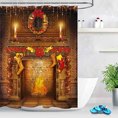 LB Weihnachten Duschvorhang 150X180cm Weihnachtssocken,Girlanden,Kamin Bad Vorhänge Polyester Wasserdicht Anti Schimmel Badezimmer Deko Heimzubehör mit Vorhanghaken