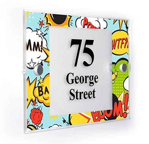 Motif Style Comic Plaque Numéro de Maison personnalisée Home Panneau résistant aux intempéries des Impression de Pointe