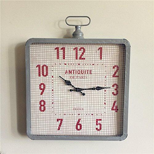 SDFN-Processus fer vintage gris noir vent métal horloge de mur (sans alimentation),GrayCadeau de cadeau de Noël de vacances d'ami cadeau