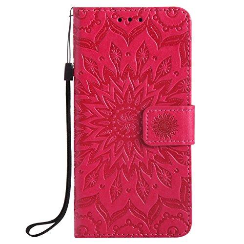 Ysimee Coque LG G5, Étui Portefeuille Magnétique en Cuir Fleur en Relief Folio Housse Con Antichoc TPU Bumper Poche de Cartes Fonction Support Coque à Rabat pour LG G5,Rouge
