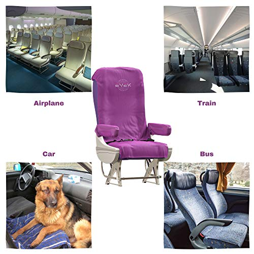 2pcs Protective Airplane Seat Covers Protectors Universal Seat Cover for Airplane Cars Vehicles Disposable/Reusable Traveling Accessories Durable Design (Violet, 2-Pack)