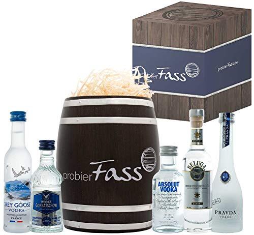 probierFass Vodka Geschenkset | 5 beliebte Vodka (4 x 0.05l und 1 x 0.04l) in einem originellen Fass mit Geschenkverpackung | Vodka Probierset | Vodka Set | Vodka Geschenk