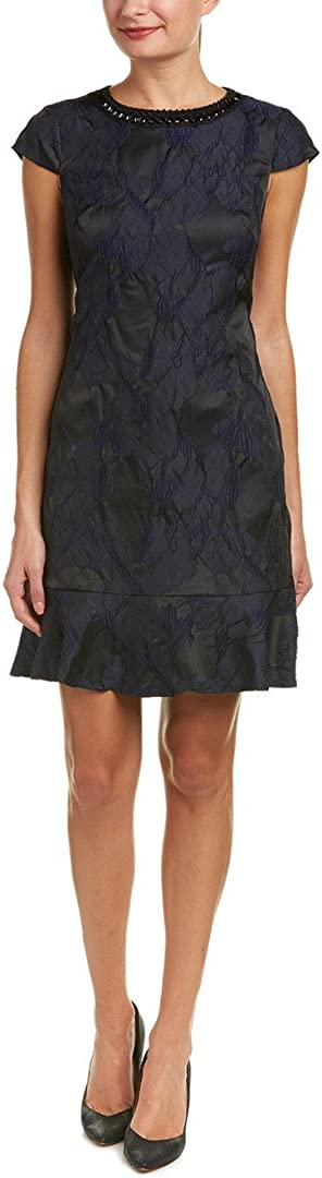 Donna Ricco Women's Cap Sleeve Jacquard Dress