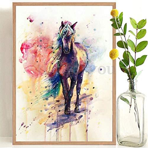 GUDOJK muurschildering aquarel paard gal loping schilderij slaapkamer woonkamer nacht decoratie schilderij canvas schilderij tuindecoratie keuken 40x60cm(16x24inch)