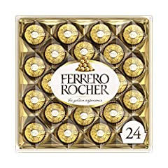 24 delicious Ferrero Rocher chocolate candies, presented in an impressive transparent gift box, the perfect Christmas, hostess, or Secret Santa gifts for loved ones this holiday season A tempting combination of smooth chocolaty cream surrounding a wh...