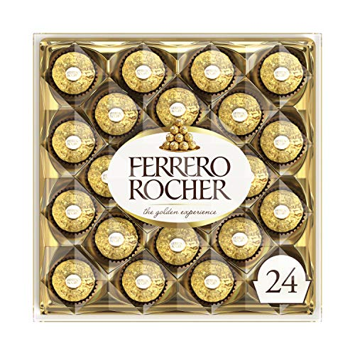 Ferrero Rocher Fine Hazelnut Milk Chocolate, 24 Count, Chocolate Candy Gift Box, 10.5 oz, Perfect Father's Day Gift for Dad