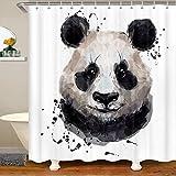 Panda Stoff Duschvorhang 180x180 Nettes Tiermuster Wasserdichtes Duschvorhang Textil für Kinder Karikatur Riese Panda Mit Haken Bär Gedruckte Wildtiere