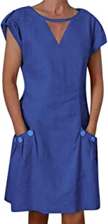 Women O Neck Short Sleeve Mini Dress ❀ Ladies Button Solid Casual Short Dress Summer Evening Party Dress Home Dress