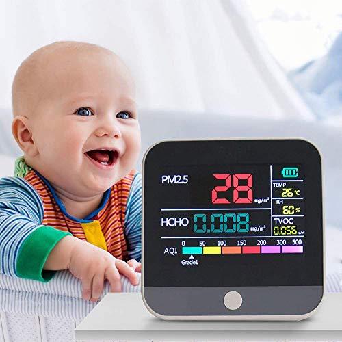 KKTECT Monitor de calidad del aire 7 en 1, detector de formaldehído medidor de contaminación del aire interior HCHO TVOC AQI PM2.5 kit de prueba de aire en tiempo real