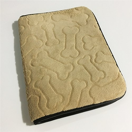 Rectangular Beige Embossed Bone Pattern Highly Absorbent Polyester Multi-functional Pet Placement...